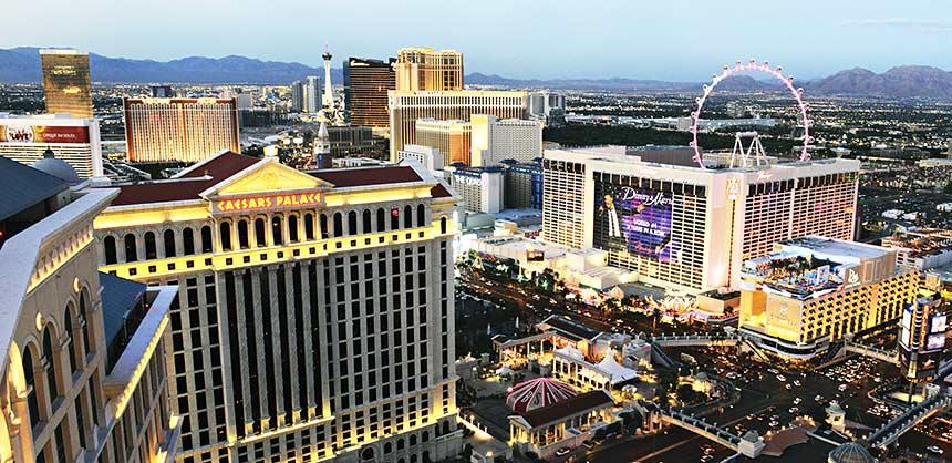 The Las Vegas Strip at dusk as seen from Bellagio. Credit: Brian Jones/Las Vegas News Bureau