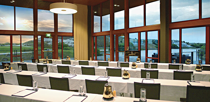A meeting room overlooks Streamsong Resort's unique Central Florida landscape.