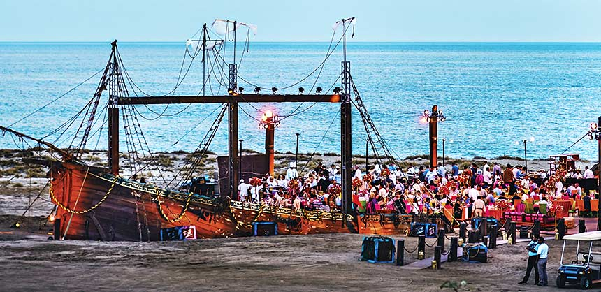 Constructing a custom-built galleon for a spectacular closing night event on the beach in Los Cabos was no mean feat for ITA Group and Terramar. Credit: ITA Group