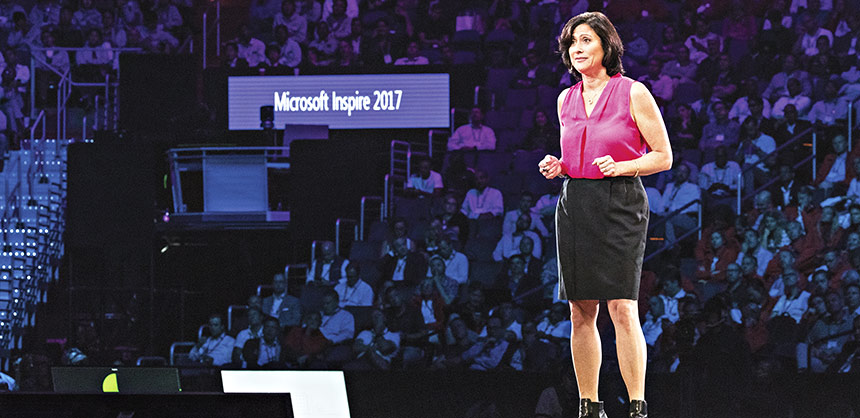 "Gavriella Schuster delivers the Vision Keynote ""Turn Your Great Idea Into the Next Big Thing"" for Microsoft's Inspire 2017 conference. Credit: Filmateria Digital"