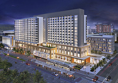 Rendering of Hyatt Regency Portland at Oregon Convention Center.