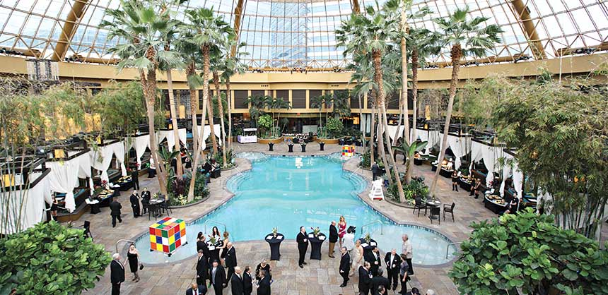 A domed poolside event at Harrah's Atlantic City.
