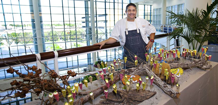 Marcel Martinez, executive chef at Greater Fort Lauderdale/Broward County Convention Center with his beach-themed display.