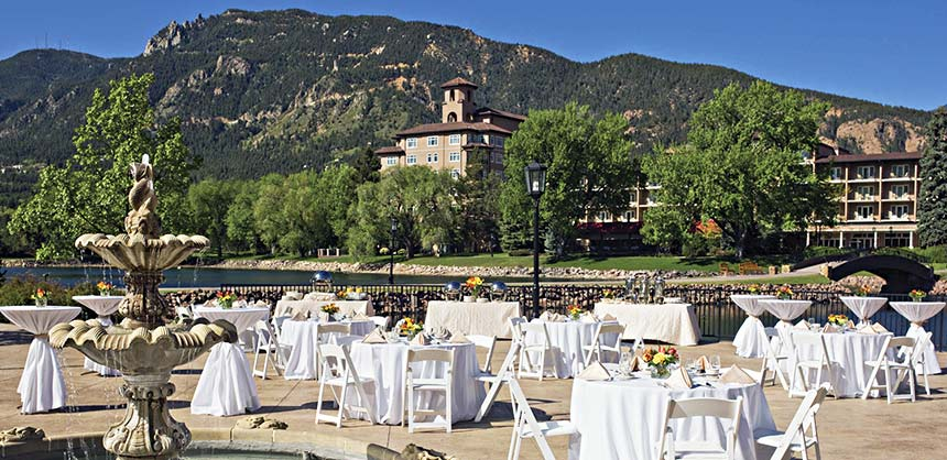 The Lakeside Terrace Patio at The Broadmoor in Colorado Springs.