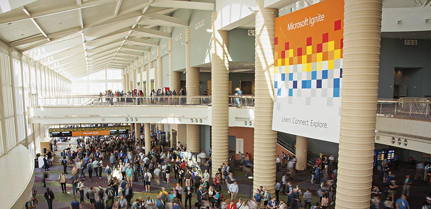 The Orange County Convention Center hosted Microsoft Ignite, which attracted 26,000 attendees despite a hurricane scare two weeks prior. Credit: Dolan Personke, Hubb