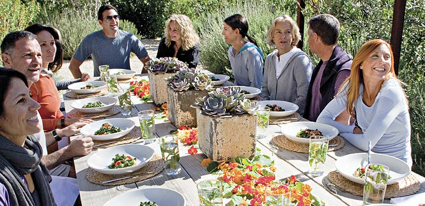 The Ranch 4.0 in Malibu, California, offers a luxury wellness boot camp for corporate groups where plenty of healthful meal choices are available. Credits: The Ranch Malibu