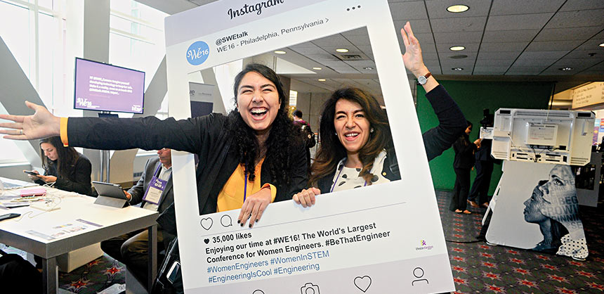 Connecting in the social media lounge at the Society at the Women Engineers' WE 16. Credit: SWE