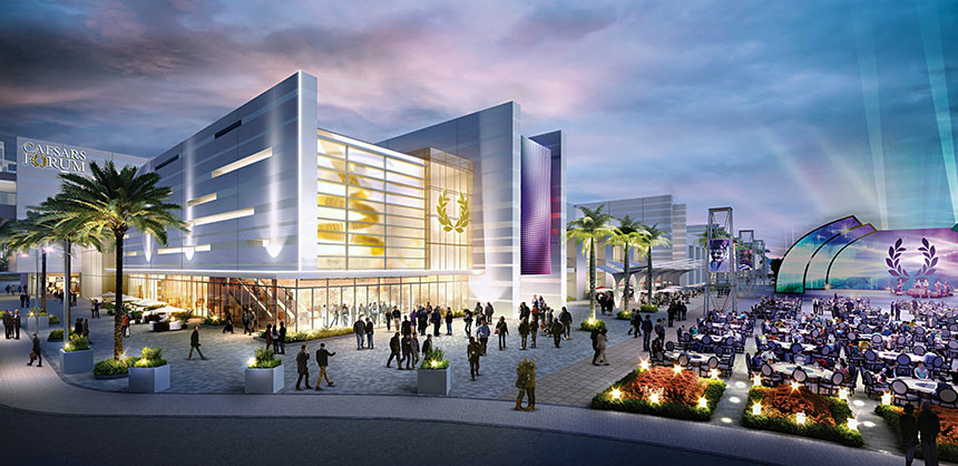 The 550,000-sf, LEED Silver-certified Caesars Forum conference center is scheduled to open on the Las Vegas Strip in 2020. Credit: Caesars Entertainment