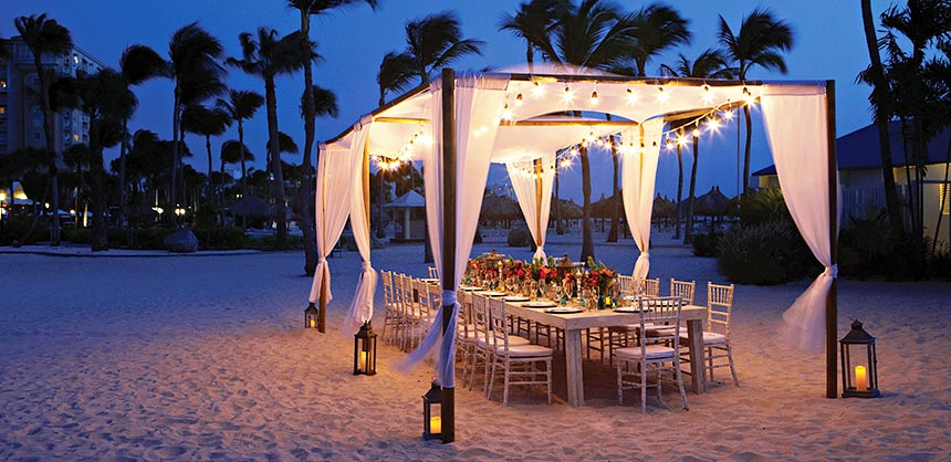 All is well on Aruba, where the Marriott Resort & Stellaris Casino boasts beautiful island event setups on the expansive beach.