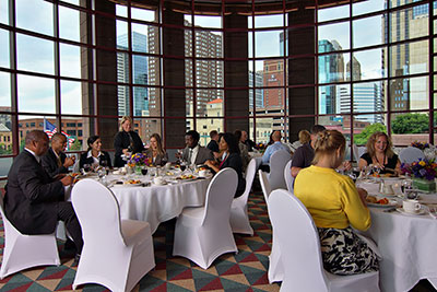 Event space with view of the city. Credit: photo by Dan Anderson, Courtesy of Meet Minneapolis and the Minneapolis Convention Center