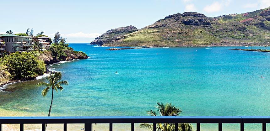 Kauai Marriott Resort & Beach Club boasts a spectacular setting on Kalapaki Beach in Lihue. Credit: Kauai Marriott Resort & Beach Club