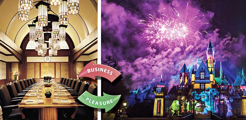 """It's all business in the boardroom at Disney's Grand Californian Hotel & Spa. (Right) """"Together Forever – A Pixar Nighttime Spectacular"""" lights up the sky over Disneyland Park. Credits: Disneyland Resort"""