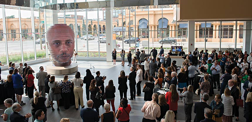 The Greater Columbus (Ohio) Convention Center features a 14-foot high interactive sculpture that has become a popular selfie station. Credit: Ellen Dallager