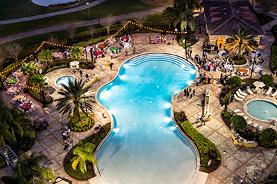 Evening event set-up by pool at Rosen Shingle Creek.