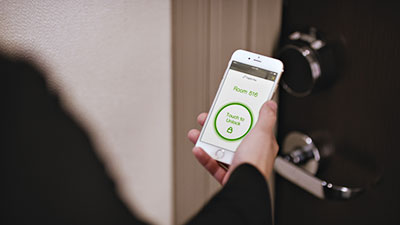 Unlock your hotel room door with just the tap on an app. Credit: Hilton Honors