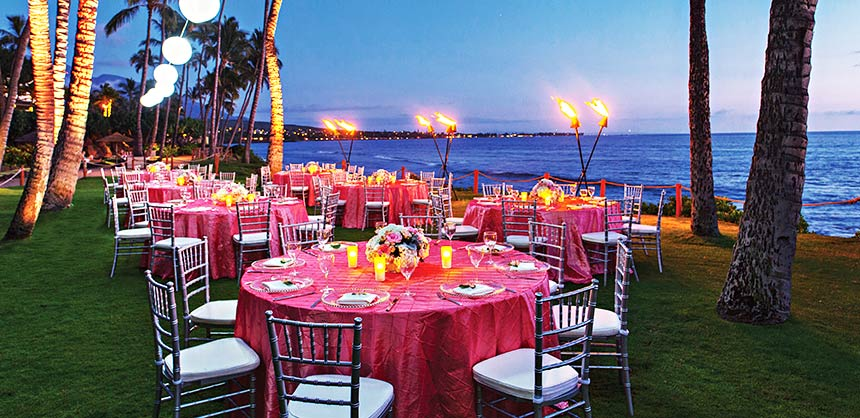 An oceanfront luau and evening setup at the 806-room Hyatt Regency Maui Resort and Spa. Credit: Hyatt Regency Maui Resort and Spa
