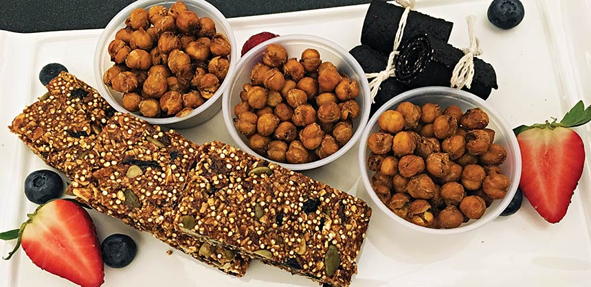 "The ""Little Pick-Me -Up"" is a popular plate with attendees at the Halifax Convention Centre. It has almond and quinoa energy bars, fruit leather and spicy chickpeas. Credit: Halifax Convention Centre"