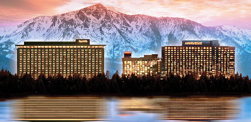 Harrah's Lake Tahoe (left) partners with its sister property, Harveys Lake Tahoe, to combine space for larger meetings. Credit: Caesars Entertainment, Inc.
