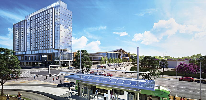 New developments in Oklahoma City include a $288 million convention center, opening in 2020 (inset top), and the Omni Oklahoma City Hotel, set to open in early 2021 (inset bottom). A new streetcar system will link these venues to the downtown district. Credit: Oklahoma City Convention & Visitors Bureau