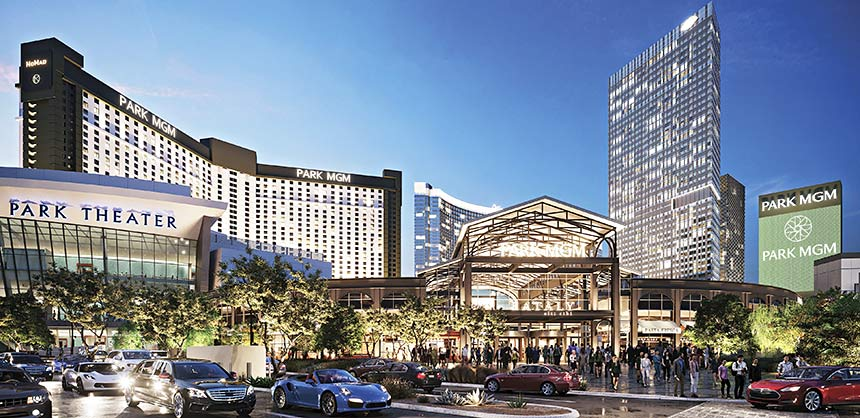 The bright lights of Park MGM in Las Vegas (left) draw big crowds. Credit: MGM Resorts International