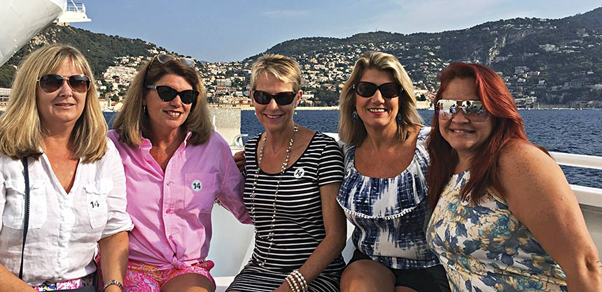 Meister Meetings & Travel Corp. recently planned an 11-day Mediterranean cruise for 65 executives aboard the Celebrity Reflection. Among the attendees were (from left to right): Kim Nowicki, Mimi Haley-Meister, Louise Glove, Karen Knowles and Lee McLain. Credit: Dan Meister, CMP