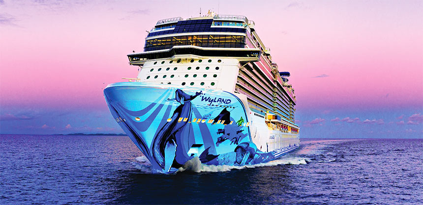 Norwegian Bliss features various themed dining areas and bars and a two-story go-kart track on its top deck.