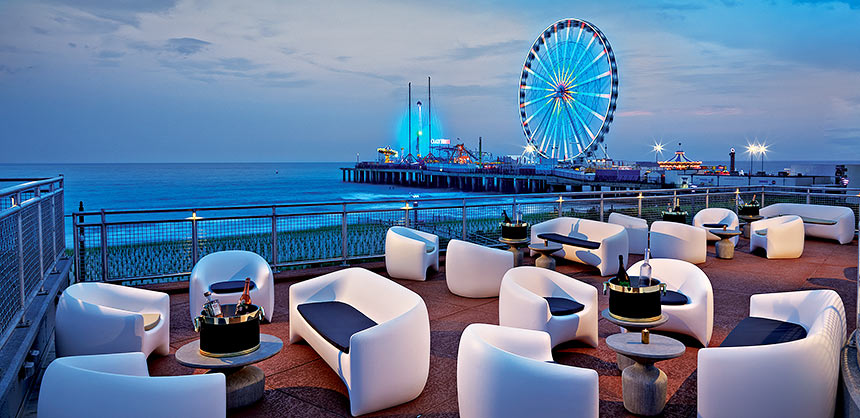 Hard Rock Hotel & Casino Atlantic City, the only Atlantic City resort with direct beach access, offers views of The Wheel at Steel Pier.
