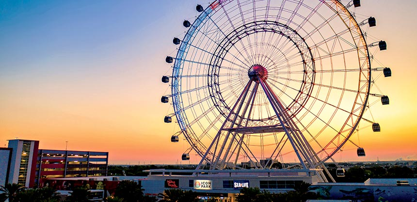 The Wheel, a 400-foot observation wheel at ICON Park will offer attendees a bird's-eye view of Orlando.