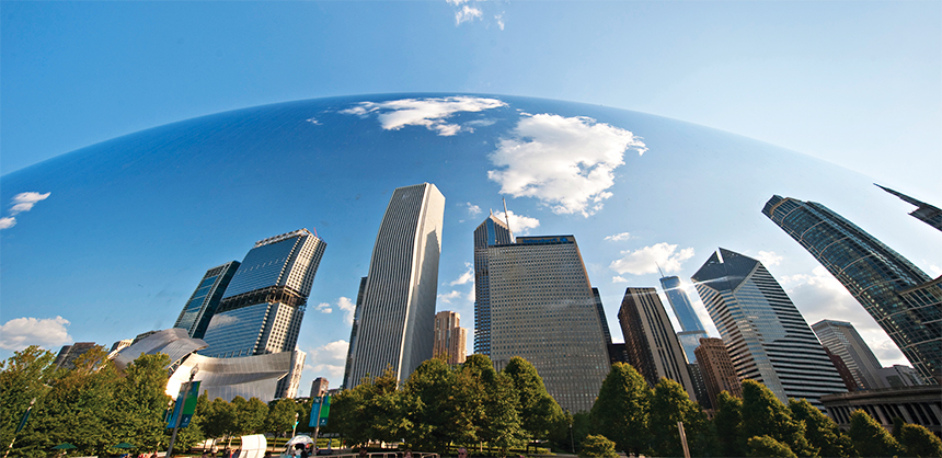 The Chicago skyline is reflected on the Cloud Gate sculpture — more commonly known as 'The Bean' — at Chicago's Millennium Park.