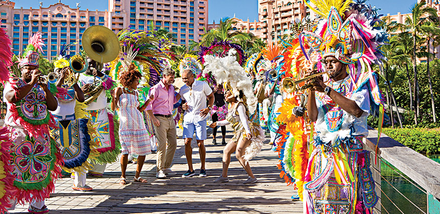 A Junkanoo Band at Atlantis, Paradise Island, Bahamas is just one of the many activities attendees can enjoy at the resort.