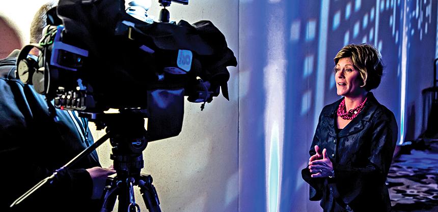 Julie Calvert, president and CEO of the Cincinnati USA Convention & Visitors Bureau, utilizes media to get her message out about the benefits of Cincinnati as a destination. Dan Ledbetter Photography