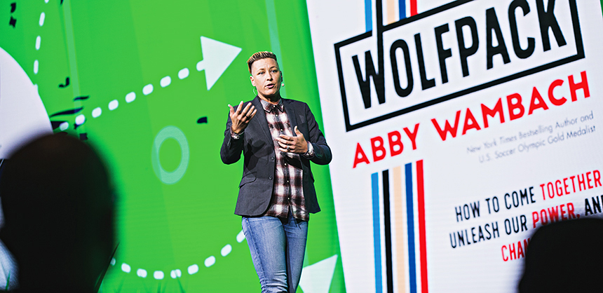 Former U.S. Women's National Soccer Team player Abby Wambach speaks at Cvent CONNECT 2019. The event had several well-known speakers entertain attendees. Photo Courtesy Cvent