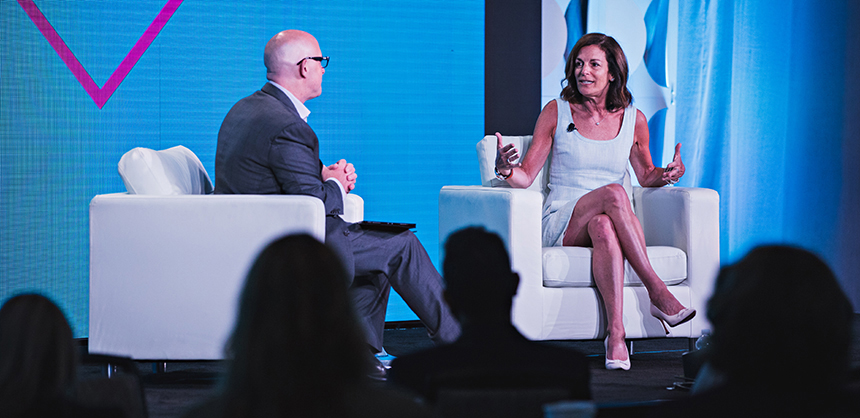 Ruth Zukerman, co-founder of indoor cycling businesses SoulCycle and Flywheel Sports, shares her story at Cvent CONNECT 2019. Photo Courtesy Cvent