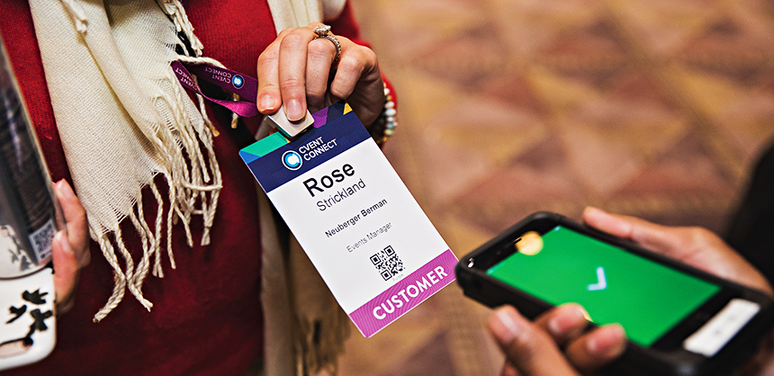 Some of the latest meeting technology includes RFID badges and scanners that are used to identify and track attendees. Photo Courtesy Cvent
