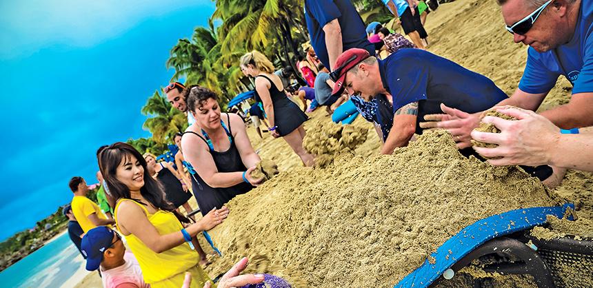 A teambuilding activity at St. Lucia's Sugar Beach.