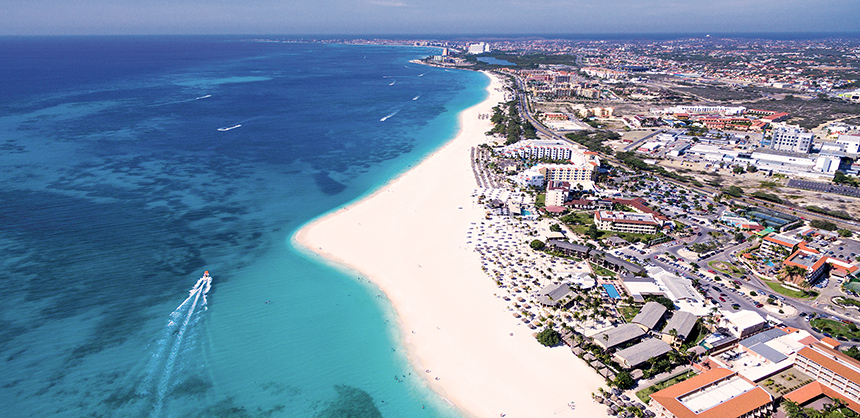 Aruba, which sits outside the hurricane belt, enjoys blissful weather year-round.