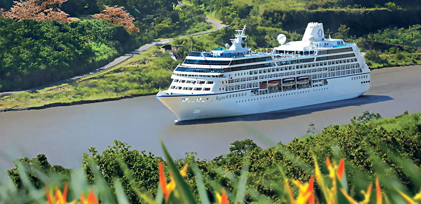 Oceania Cruises' Regatta pictured in the Panama Canal. The 684-passenger ship was reimagined last year, with updated amenities throughout. The ship features four open-seating restaurants, the Aquamar Spa + Vitality Center, eight lounges and bars, a casino and 342 suites.