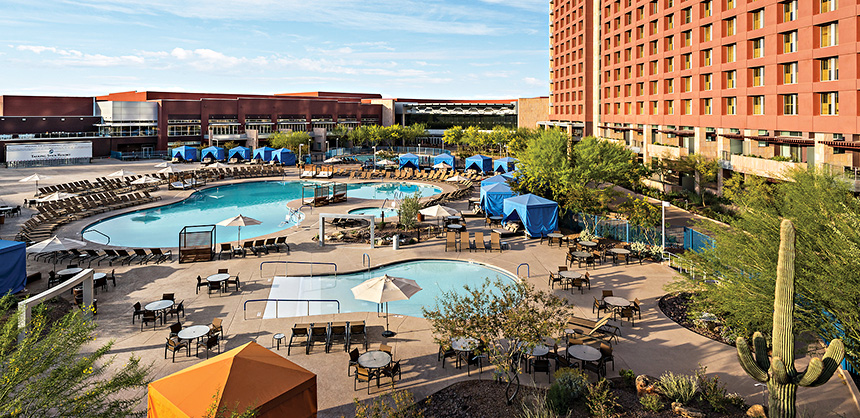 Talking Stick Resort offers plenty of amenities in which attendees can participate, including three separate pools, 36 holes of championship-caliber golf, and an entertainment district with an aquarium, and more.