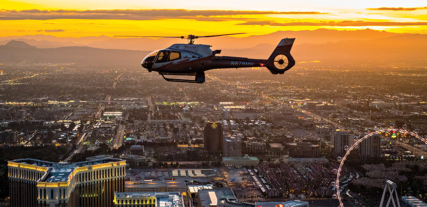 Attendees can enjoy a helicopter tour over the Las Vegas Strip at sunset, one of hundreds of activities offered that appeal to any taste. Photo via LVCVA