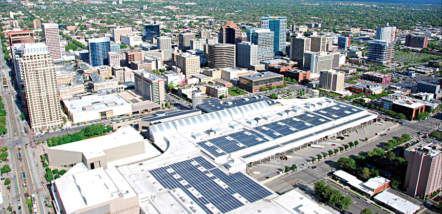 The Salt Palace Convention Center in Salt Lake City, Utah has a large solar array and offers credits to offset carbon emissions from events.