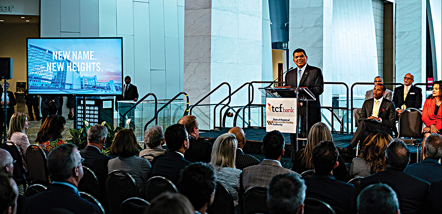Officials speak at the TCF Center's renaming ceremony. The center in Detroit is one of many nationwide that works with planners to help them devise carbon-neutral events. Courtesy of Claude Molinari