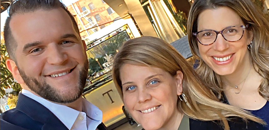 """L-R: Joe Martin and Courtney Mancini from the BDI Events team, and Amy Green, BDI Events founder and partner. Green says her relationships """"benefit our shared clients in every way imaginable."""" Courtesy of Amy Green"""