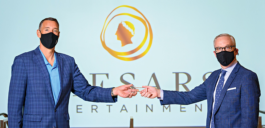 Jerry Horan, right, president and COO of ConferenceDirect, and Michael Massari, chief sales officer with Caesars Entertainment, at a recent event at CAESARS FORUM.