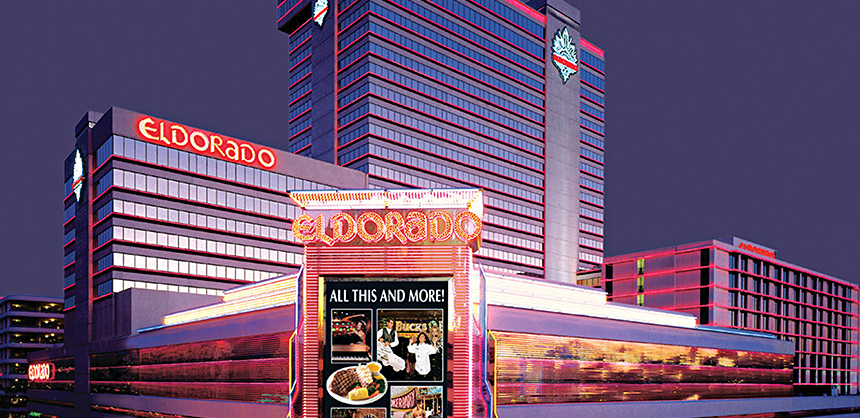 Caesars Entertainment, Inc.'s THE ROW in Reno features Eldorado Resort Casino (pictured), Circus Circus Reno and Silver Legacy Resort Casino. THE ROW offers eating, entertainment and more.