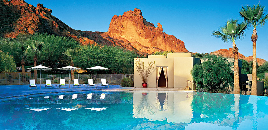The infinity pool and lush scenery of Sanctuary Camelback Mountain Resort and Spa presents an oasis of calm and serenity.
