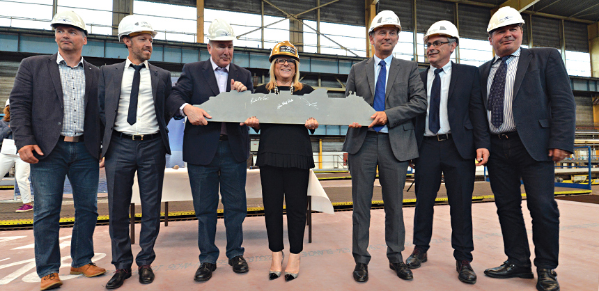 Celebrity Cruises is poised to transform the way modern travelers experience the world Ð all over again Ð as the first piece of steel is cut on its newest ship, Celebrity Apex, at the Chantiers de lÕAtlantique shipyard (formerly STX France) in Saint-Nazaire, France. Lisa Lutoff-Perlo, President and CEO, Celebrity Cruises, who attended the Celebrity Apex steel-cutting ceremony accompanied by her leadership team, said: ÒWelcoming Celebrity Apex into our family with the leadership team was a very special moment, especially when we all signed the ship silhouette cut from the first piece of steel.Ó