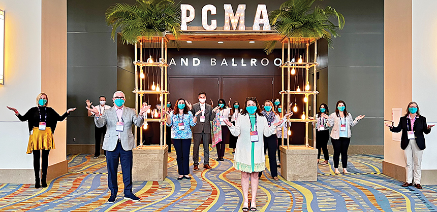 PCMA hosted its recent Convening Leaders 2021 event at the Palm Beach County Convention Center in Florida. Attendees followed strict venue guidelines for social distancing and temperature checks. Photo courtesy of Kelly Cavers