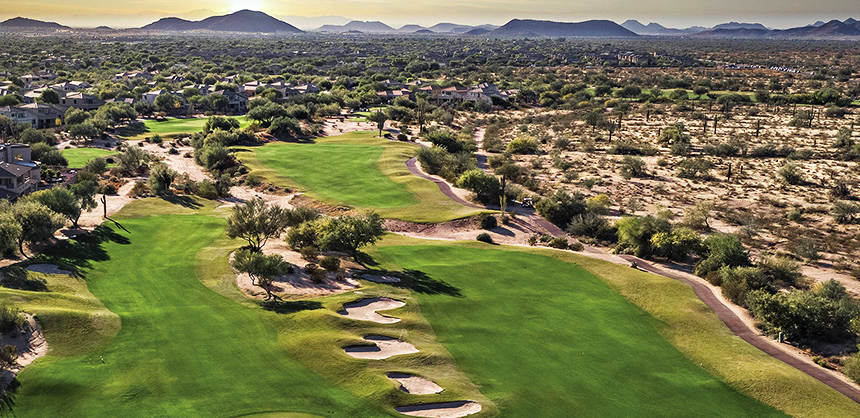 The approach to Hole 14 on The Palmer Signature Course at JW Marriott Phoenix Desert Ridge Resort & Spa.