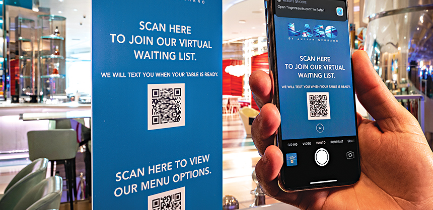 MGM Resorts International has introduced technology where attendees can scan QR codes with their mobile device and view event menu details. Photo Courtesy of Victoria Chivers