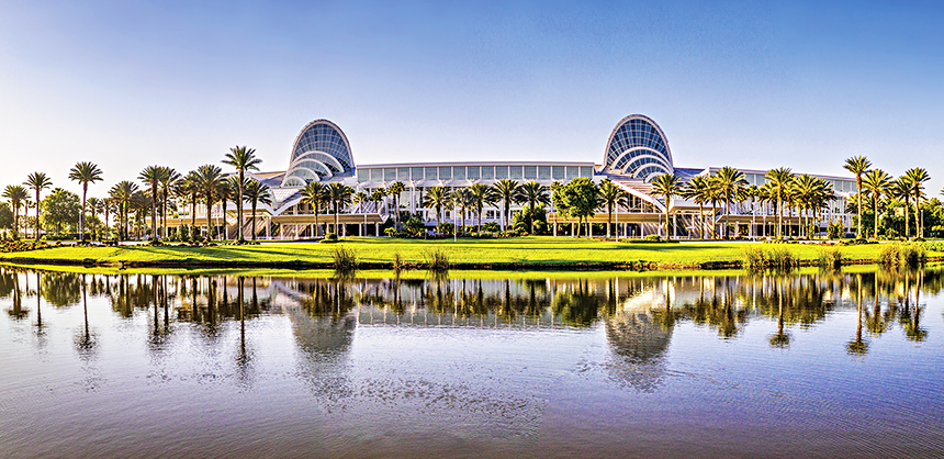 Orlando's Orange County Convention Center, pictured, is one of the largest in the U.S., offering 1.1 million sf of exhibition space.
